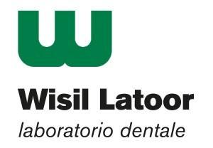 """Logótipo da marca """"Wisil Latoor laboratorio dentale"""". Cores verde, preta e branca"""