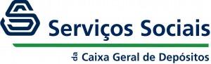 """Logótipo da marca """"Serviços Sociais da Caixa Geral de Depósitos"""". Cores azul, verde e branca"""