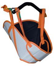 Arnês para grua (linha acolchoada) de cores exteriores branca e laranja. Preto no interior