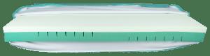 Vista lateral sobre um colchão branco com pormenores a azul