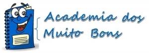 """Logótipo da """"Academia dos Muito Bons"""". Caderno 'humanizado' com olhos e boca e a azul, como o texto"""