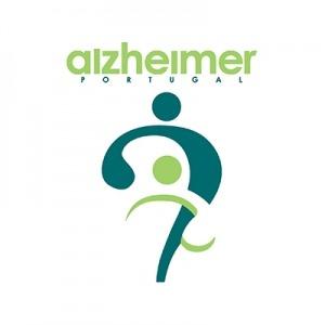 """Logótipo com o texto """"alzheimer Portugal"""" e duas silhuetas humanas. Cores azul e verde"""