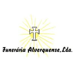 """Logótipo da """"Funerária Alverquense, Lda."""". Cruz branca em primeiro plano sobre um sol radiante"""