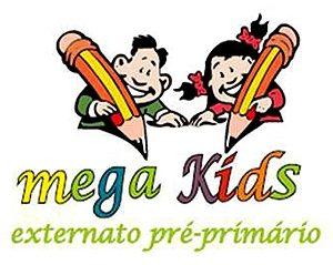 """Logótipo """"mega kids externato pré-primário"""". Várias cores. Desenho de duas crianças com lápis"""