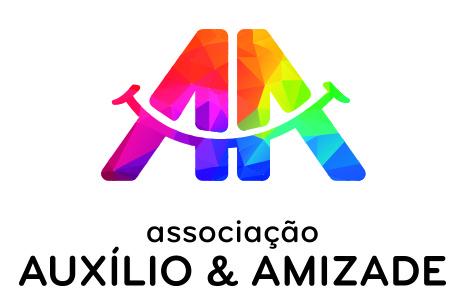 """Logótipo """"associação Auxílio & Amizade"""". Texto a preto e formas com várias cores"""