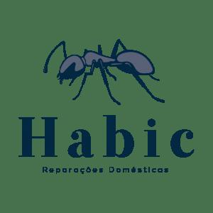"""Logótipo """"Habic Reparações Domésticas"""". Representação de uma formiga. Tons azuis"""