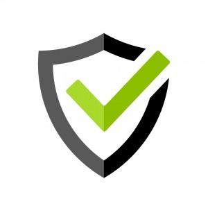 Símbolo de qualidade composto por uma seta verde envolta num escudo cinzento e preto