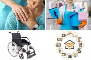 4 imagens. Mulher prestando apoio domiciliário a idosa e limpando a casa. Cadeira e grupo de ícones